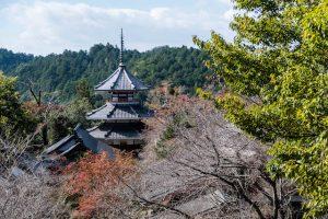 Blick auf Tempelanlage in Yoshino mit Bäumen davor und Pagode im Hintergrund