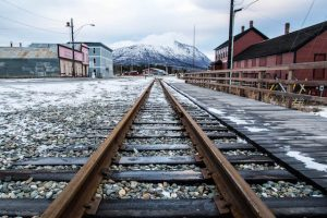 Eisenbahnschiene in Carcross Yukon