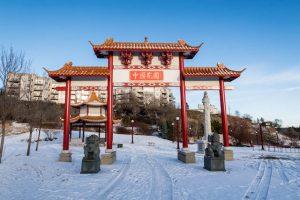 Chinesische Pagode im Schnee
