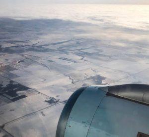 Blick aus Flugzeug bei Anreise nach Edmonton Kanada
