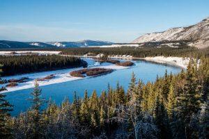 Landschaft mit Wald und Fluss bei blauem Himmel