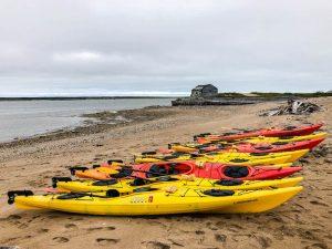 Kajaks am Strand von der Hudson Bay