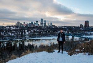 Aussicht auf Edmonton bei Sonnenunterganf