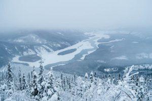 Blick auf verschneiten Landschaft