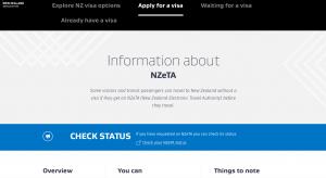 Neuseeland Visum Antrag Screenshot vom Portal