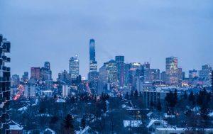 Edmonton Skyline bei Dämmerung