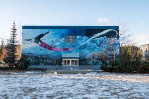 Blick auf Straßenkunst in Whitehorse