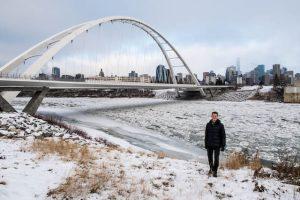 Vor der Walterdale Brücke im Winter