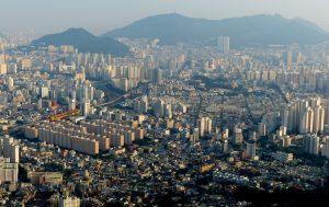 Gebäude und Häuser in Busan Südkorea
