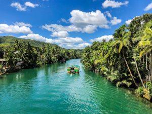 Fluss mit Palmen auf den Philippinen