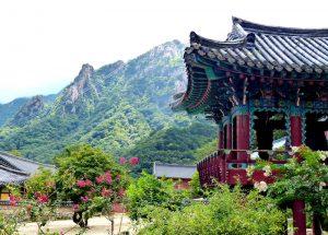 Nationalpark mit Tempel und Gebirge