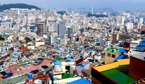 Skyline und Häuser in Busan Südkorea