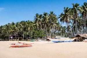 Nacpan Strand mit Booten und Palmen