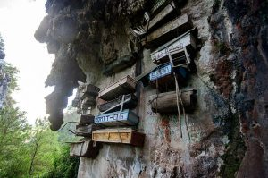 Hanging Coffins on the rock wall