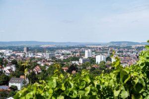 Grüne Blätter und Blick auf die Stadt