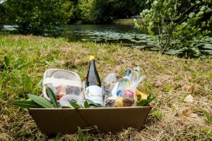 Picknickkorb im Gras am Neckar
