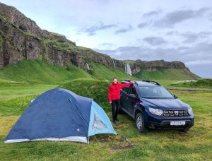 Tent and car in iceland